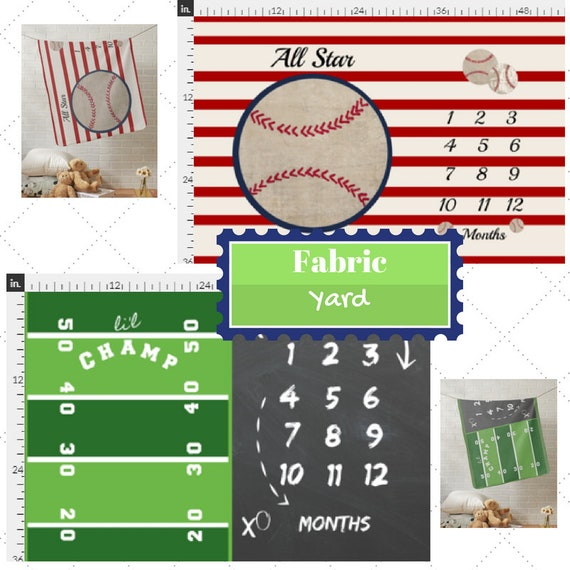 Fabric by the Yard | Monthly Milestone Baseball & Football  Baby Fabric, Gauze, Cotton, Minky, Fleece, Organic Cotton, Can PERSONALIZE