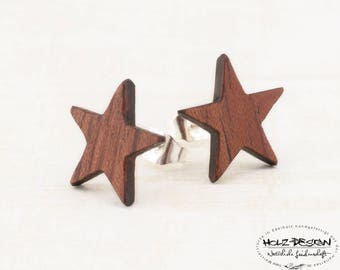 Star Stud Earrings | Wooden Star Earring Studs | Wooden Post Earrings Gift for her | Wood Studs | eco friendly sustainable handmade Jewelry