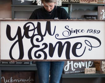 Wedding Mothers Day Gift | You & Me Wood Sign | Bedroom Wall Decor | Rustic Farmhouse | Anniversary Gift | Gift for Her | Bedroom Sign