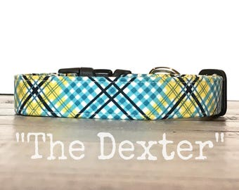 Plaid DOG COLLAR, Dog Collars, The DEXTER, Aqua, Yellow, Black and White, Cool Dog Collar