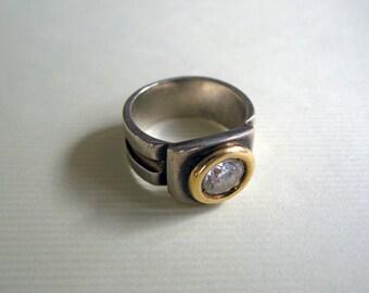 Bold design sterling silver and 18K gold ring with sparkling Swarovski crystal