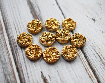 Gold Fauz Druzy Cabochons- Plastic Golden Cabochons - 12mm Cab Supply Glue In Jewelry - Set of 50