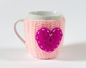 Crochet Mug Heart, Mug Warmers, Cup Cozy, Cup, Buttoned Mug Seater, Crochet Mug, Crochet Heart, Valentine Day