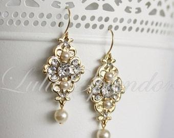 Gold Wedding Earrings, Small Bridal Earrings Pearl Crystal dangle Earrings Bridesmaids wedding Jewelry MINI LEILA