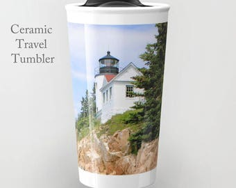 Lighthouse Travel Mug-Maine Travel Mug-Insulated Coffee Mug-Ceramic Tumbler-12 oz Ceramic Mug-Bass Harbor Mug-Insulated Travel Mug