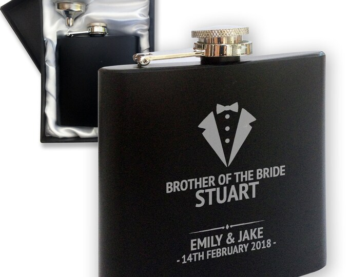 Brother of the bride Engraved wedding thank you hip flask gift, black coated 6oz stainless steel. Tuxedo wedding - TUX3