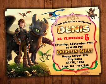 How to Train Your Dragon Invitation, How to train your dragon Party, hiccup and toothless, Toothless Dragon Invitation, Toothless Invite