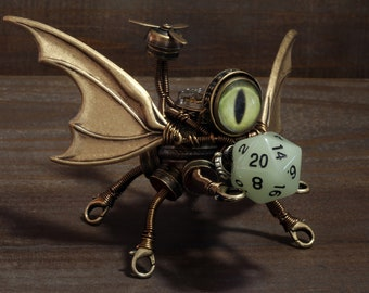Steampunk Flying Minion Robot Miniature Sculpture Robot with propeller - Dungeons and dragons dnd dice buddy