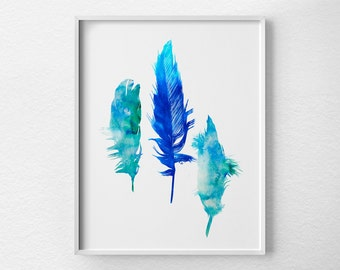 Watercolor Feather Print, Watercolor Print, Feather Print, Nursery Decor, Feather Art Print, Dorm Decor, Watercolor Art, Feather Decor, 0357