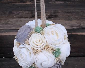 Sola Flower Succulent Ball - Ivory Flower Girl Pomander Kissing Ball Aisle Decor Wedding Centerpieces Alternative Bouquet Wood Flower