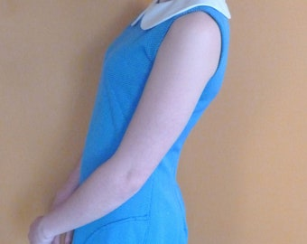 1960s Vintage Blue Peter Pan Collar Dress