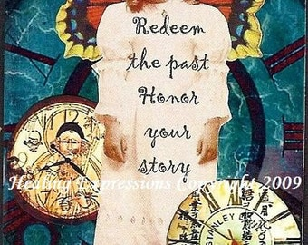 HONOR YOUR STORY altered art therapy inspirational collage abuse trauma Art Aceo Print
