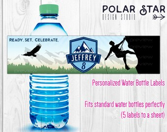 Rock Climbing - Personalized Boy Birthday Water Bottle Labels - Cliffhanger, Extreme, Mountains, Outdoor - Printable Digital File WBL73