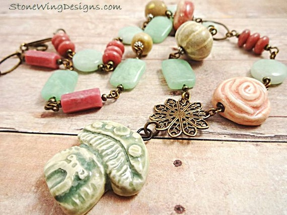 Rustic Boho Mushroom Necklace in Pink and Green Gemstones