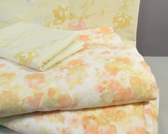 Vintage full sheets, full sheet set, double sheets, remixed, flower sheets, mid century modern floral print, yellow and peach