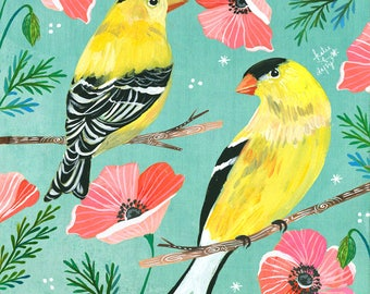Gold Day art print | Goldfinch Artwork | Bird Painting | Katie Daisy | 8x10 | 11x14