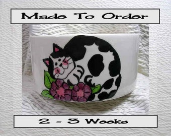 Black & White Cat In Flowers Pet Bowl With Paw Prints Inside Medium Handmade 20 Oz. Ceramic GMS
