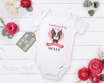 Protected by brother etsy protected by my big sister add dogs name custom baby onesie bodysuit negle Images