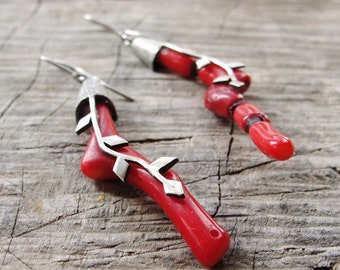 Long Coral Earrings, Sterling Silver Earrings Red Coral, Handmade branch earrings Silver Oxidized with Red Coral