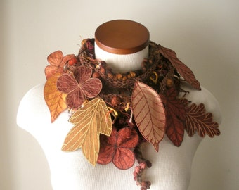 Long and Leafy Scarf with Embroidered Leaves - Sienna Brown with Leaves of Cinnamon, Rust, Copper, and Butterscotch - Fiber Art Scarf