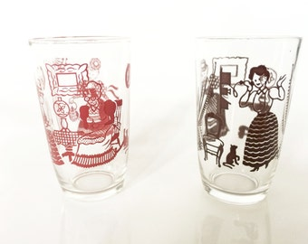 Bustling Betty Swanky Swigs Kraft Food Jars Juice Glasses