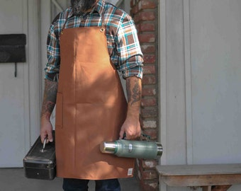 Brown Duck Canvas Men's Apron with Leather Straps