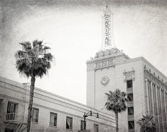 El Capitan Theatre, Hollywood, Los Angeles Photography, Black and White, LA Wall Art, Architecture, California, Fine Art Print