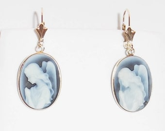 RARE Blue and White Angel Agate Cameo, SOLID 14kt yellow gold Leverback Earrings
