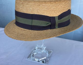 1950s Italian Vintage Straw Boater Flat Top Men's Hat With Ribbon