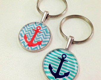 NEW 1 inch Keychain fob- Nautical  - you choose the design