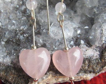 Earrings  rose quartz gemstone heart shaped,  sterling silver, or 12k gold filled, length 1 1/2 inches, handmade french earwires.