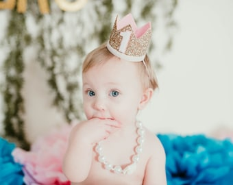 First Birthday Crown For Girl | 1st Birthday Crown Of Glitter | Birthday Hat | First Birthday Outfit Pink and Gold | Girl Birthday Outfit