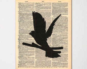 Dove Dictionary Art Print / Vintage Dictionary Paper
