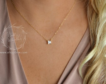 Princess Cut Diamond Necklace, CZ Necklace, cubic zirconia necklace, Sterling Silver, Gold, Rose Gold, gift for mom, bridesmaid gifts