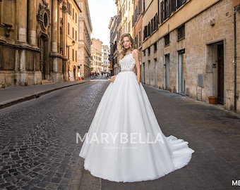 Illusion Bateua Tulle Wedding Gown