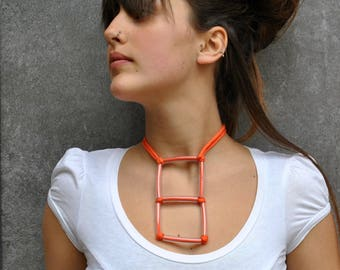 Minimal Plastic Necklace  / Fabric geometric necklace / Square pendant / Plastic and fiber necklace / Minimal jewelry / Geometric jewelry