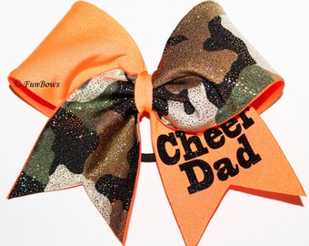 Camoflauge  Cheer Dad Cheer bow by Funbows