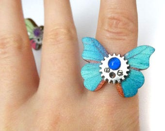 Steampunk butterfly adjustable rings