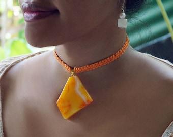Power Orange Stone Necklace, Macrame Choker, Pendant Necklace