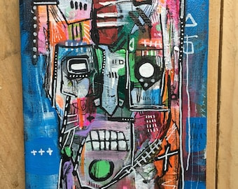 "Miniature Original Streetart Graffiti painting on 7x5"" canvas"