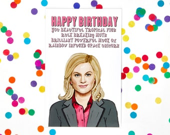 Parks and Rec Leslie Knope Birthday Card, Parks and Recreation Card (Ron Swanson, Treat Yo Self) (100% Recycled Paper)