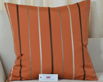 "Ashley Wilde Mira Stripe 16"" x 16"" (41cm x 41cm) Cushion Cover Burnt Orange"