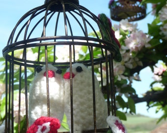 Love Birds Decorative Gift - Handmade Little Crochet Birds and Flowers in a Decorative Bird Cage