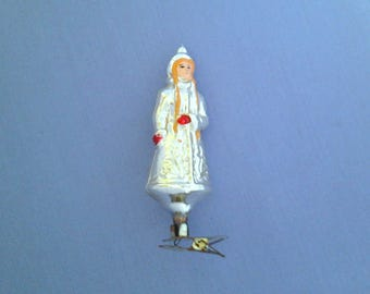 Snow Maiden, girl, vintage soviet glass Christmas tree decoration, christmas ornament, made in USSR, 1950s
