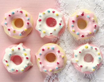 6 Pcs Assorted Doughnut With Icing Cabochons - 26mm
