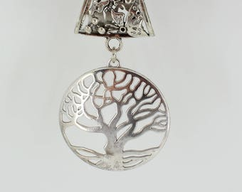 Tree of Life Scarf Pendant ~ Antique Silver Scarf Accessory~ Scarf Charm