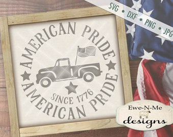 Patriotic svg - July 4th SVG - Old Truck svg - American Pride svg - Old Truck with Flag svg - round svg -  Commercial Use svg, dxf, png, jpg