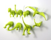 Dinosaur Magnets - 8 piece set in Chartreuse - Apple Green Extinct - Fill your pinata