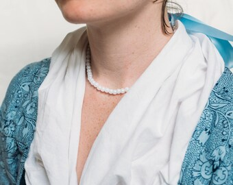 Faux Pearl Strand Choker Necklace with Ribbon Tie 18th Century Colonial Historical Style