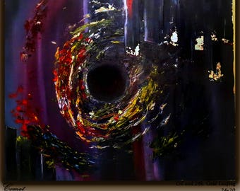 Comet, oil painting and gold leafing on canvas On Sale!